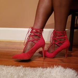 Date night red lace up heels